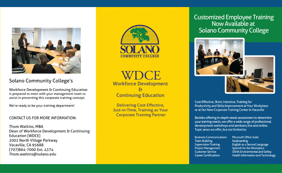 Solano Community College Tri Fold Brochure   Target Marketing